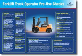 forklift truck operator checklist  poster health