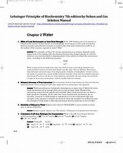 Biochemistry Solution Manual Pdf