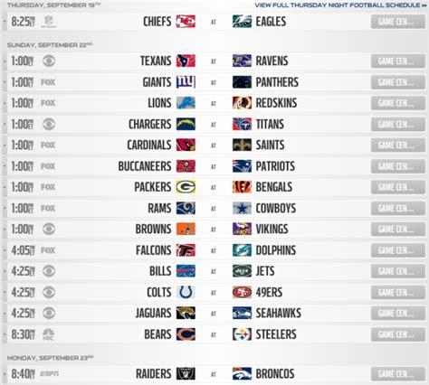 nfl regular season schedule  printable schedule