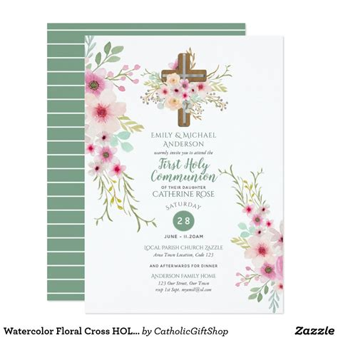 HOLY Communion Invitations Floral Cross Pink Sage Zazzle