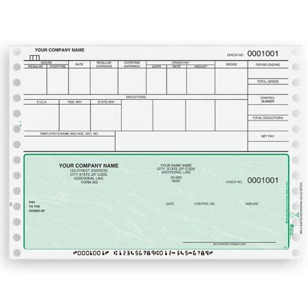 payroll check template cb301 continuous and dot matrix payroll check