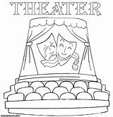 Theater Coloring Pages Comedy Masks Tragedy Colorings Building sketch template
