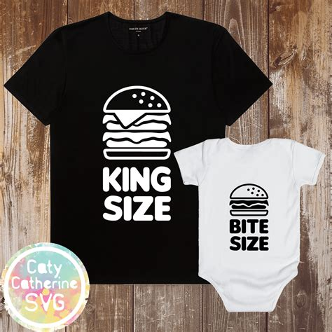 This is for a digital download. King Size & Bite Size Daddy & Baby Tee & Onesie Design SVG ...