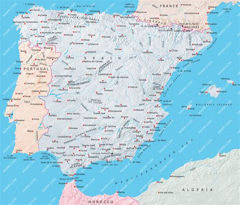 Carte Portugal Espagne by Spain Portugal Map Illustrator Mountain High Maps Plus