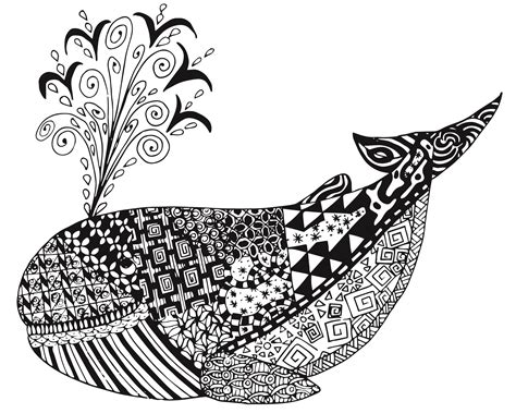 whale zen tangles adult coloring page