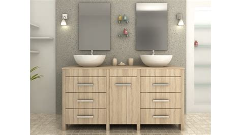 bureaux bois massif complet meuble salle de bain vasque ronde chêne clair