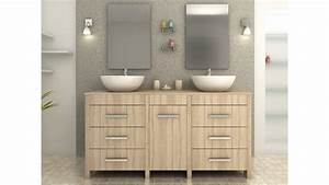 Meuble De Salle De Bain Double Vasque : complet meuble salle de bain double vasque ronde ch ne clair ~ Teatrodelosmanantiales.com Idées de Décoration