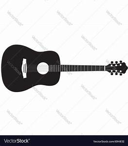 Acoustic guitar - Stylized acoustic guitar silhouette clipart