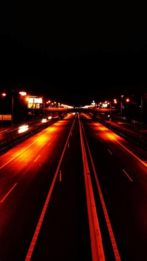 orange light highway android wallpaper