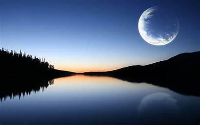Moon Desktop Nature Wallpapers Backgrounds Tranquil Sunset