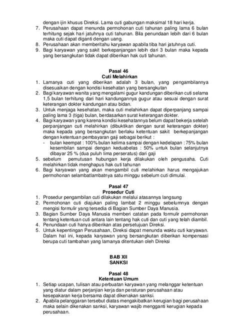 Gugur Kandungan 4 Bulan Contoh Peraturan Perusahaan Bucah