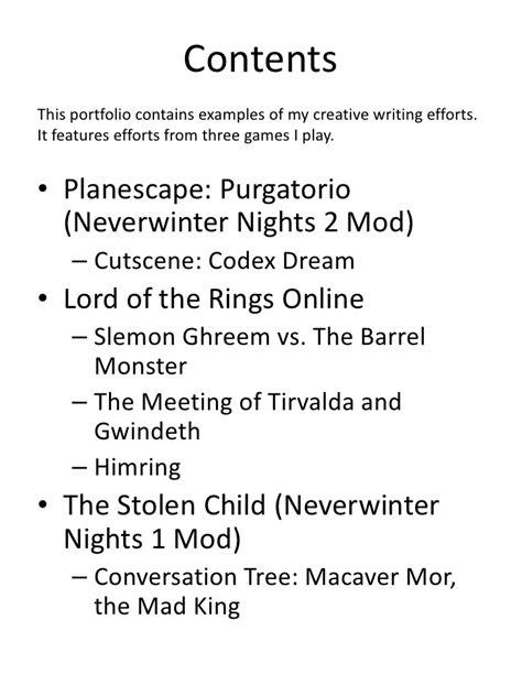 creative writing portfolio