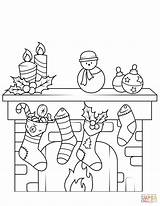 Fireplace Coloring Christmas Pages Printable Drawing Supercoloring Puzzle sketch template