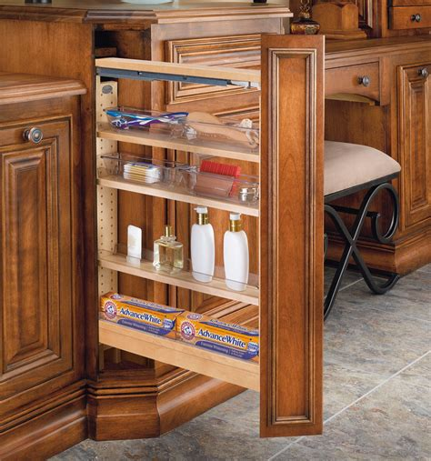 pull out kitchen cabinet drawers 6 quot vanity pull out filler w 4 poly bins 432 vf26 6 rev a 7601