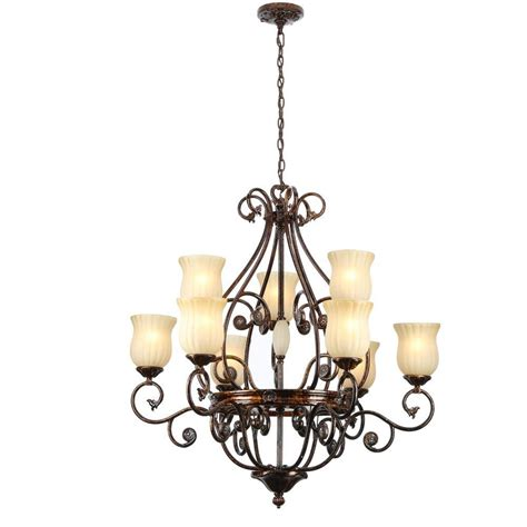 chandeliers at home depot hton bay freemont 9 light hanging antique bronze