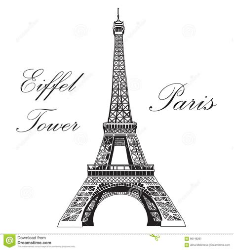 vector hand drawing illustration eiffel tower stock vector