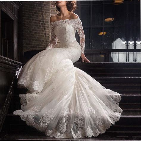 2018 Lace Mermaid Wedding Dresses Applique Beaded Long ...