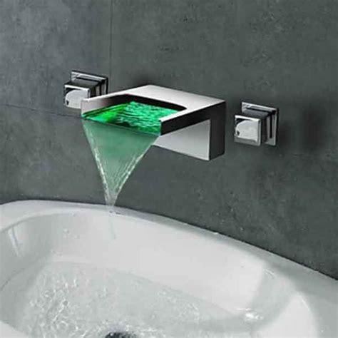 chrome waterfall wall mount  colors led bathroom sink