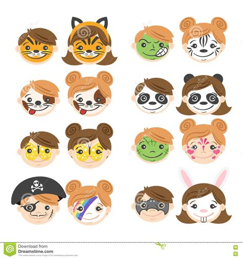 vector illustration  kids faces face painting  kids