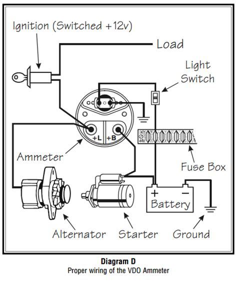 Vdo Volt Wiring Diagram by Circuit Diagram Ammeter On Note The Meter S Indication Of