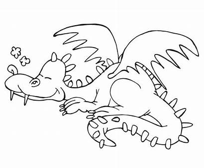 Coloring Sleeping Pages Dragon Animals Books Dragons