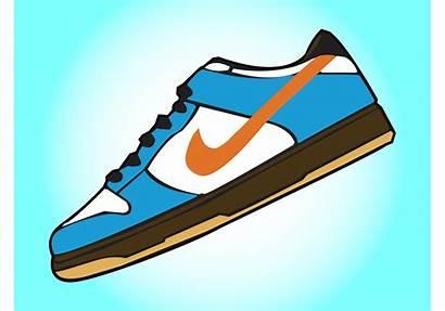 Nike Shoe Cartoon Clipart Tennis Vectored Zapatos