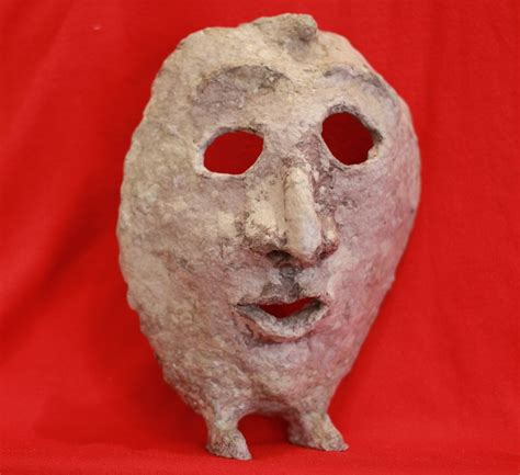 filepaper mache mask  feet front view  red