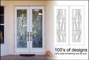 Etched glass with modern contemporary designs