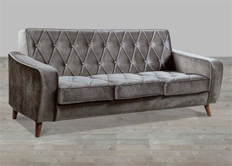 petite grey velvet sofa button tufted