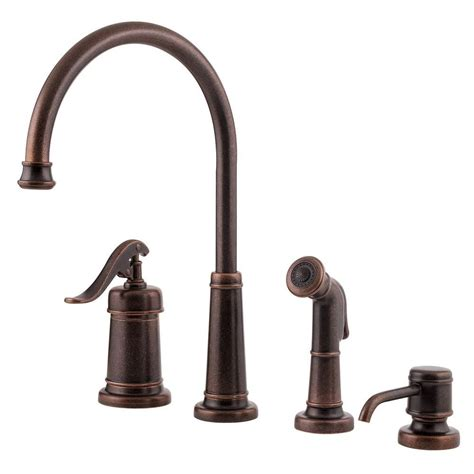 bronze kitchen faucets pfister ashfield single handle side sprayer kitchen faucet