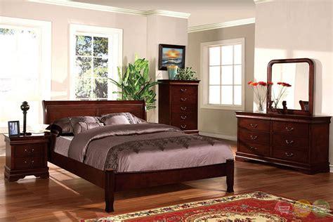 saint anne transitional cherry sleigh bedroom set