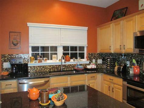 orange kitchens ideas burnt orange kitchen black granite countertops glass