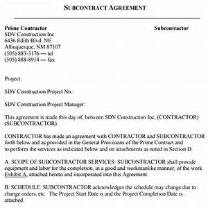 18 subcontractor agreement templates sample templates With subcontractor scope of work template