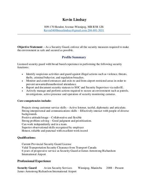 Kevin Lindsay Security Guard Resume (8