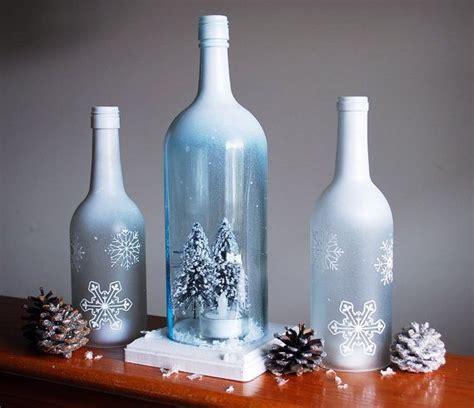 winter wonderland  glass bottles home deco