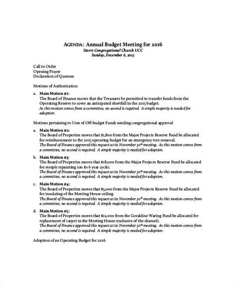budget meeting agenda templates  sample