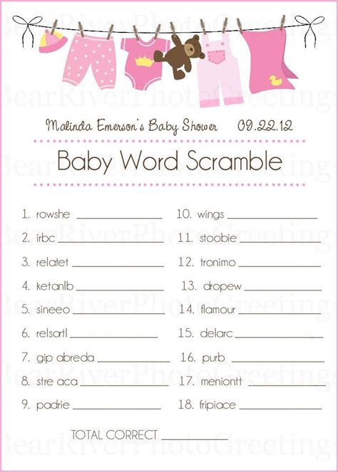 word for shower baby shower cards baby word scramble set of 20