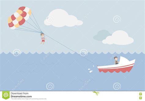 Parasailing in summer stock illustration. Illustration of ...