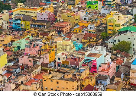 stock images  colorful homes indian city trichy tamil