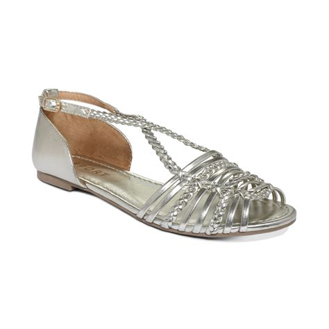 flat silver shoes report cristina flat sandals in silver lyst