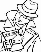 Spy Coloring Detective Pages Secret Holding  Spies Drawing Template Fresh Printable Print Beat Band Decode Puzzle Netart Sketch Agents sketch template