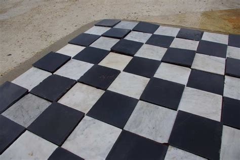 antique black and white marble monastery tiles