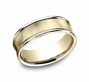 BENCHMARK Rings 14k White Gold Concave Design Mens Wedding