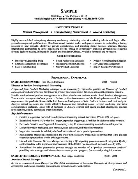 Product Management Resume Sles by Product Management And Marketing Executive Resume Exle And Biz Executive