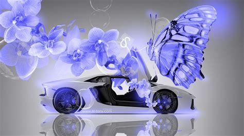lamborghini aventador fantasy flowers butterfly car