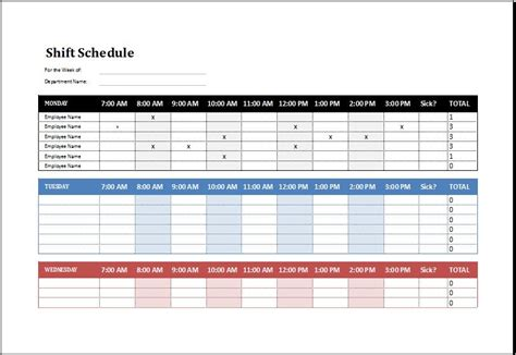 Employee Schedule Template Employee Shift Schedule Template Ms Excel Excel Templates