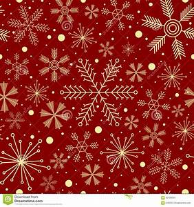 Christmas Seamless Pattern With Various Snowflakes On Dark ...
