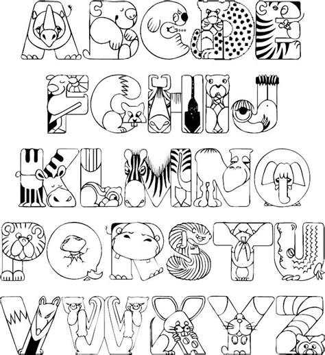 crazy zoo animals coloring printable full alphabet