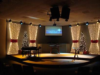 Stage Church Christmas Decorations Simple Theme Fabric