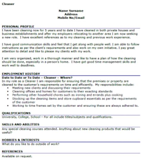Cleaning Curriculum Vitae by Cleaner Cv Exle Cover Letters And Cv Exles